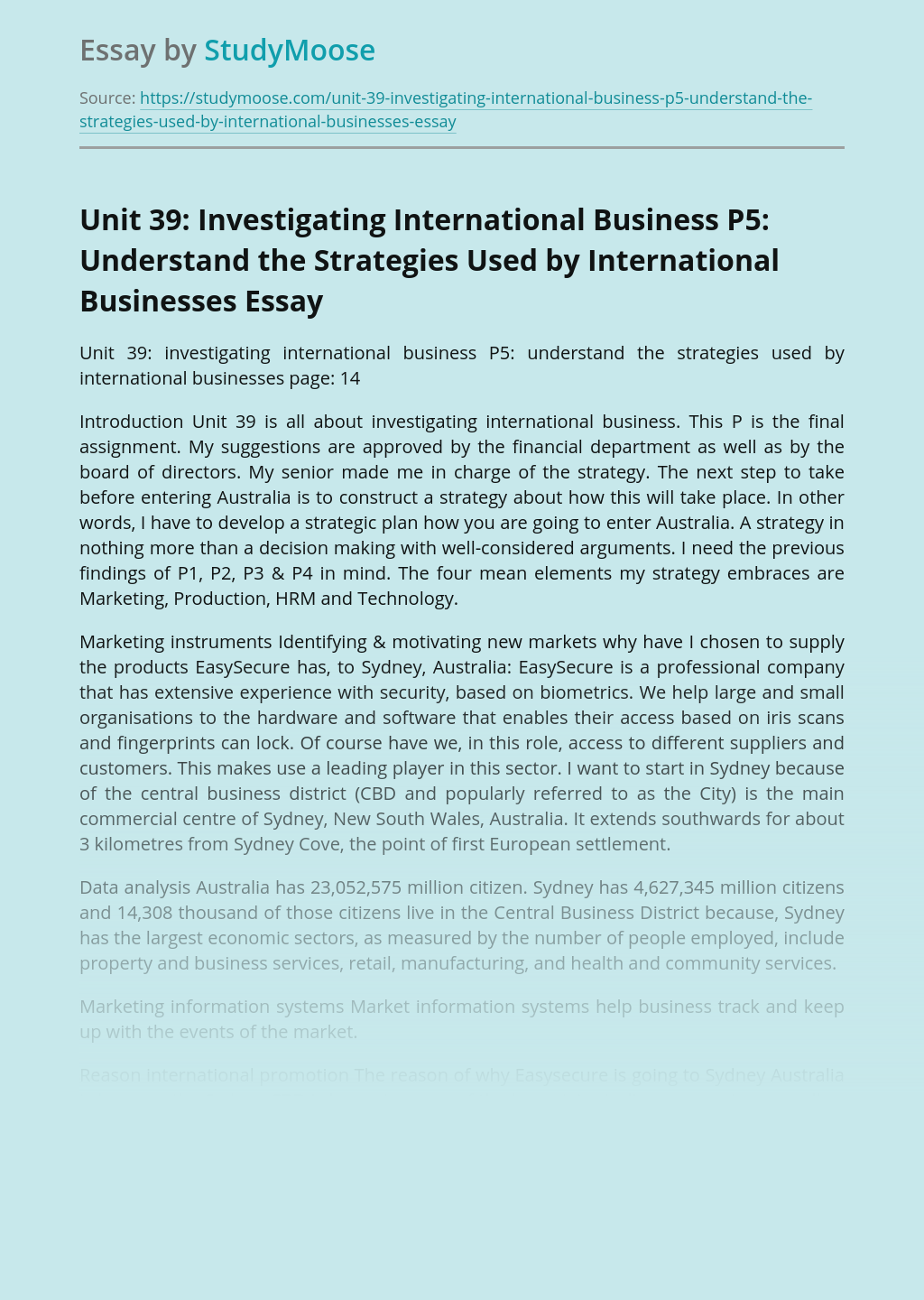 Unit 39: Investigating International Business P5: Understand the Strategies Used by International Businesses