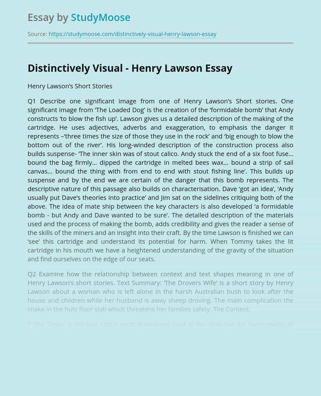 Distinctively Visual - Henry Lawson