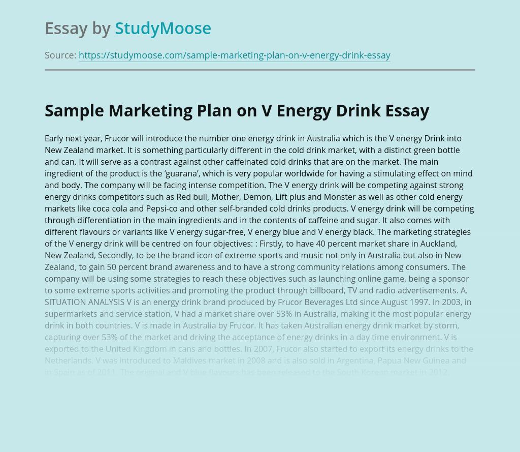 Sample Marketing Plan on V Energy Drink