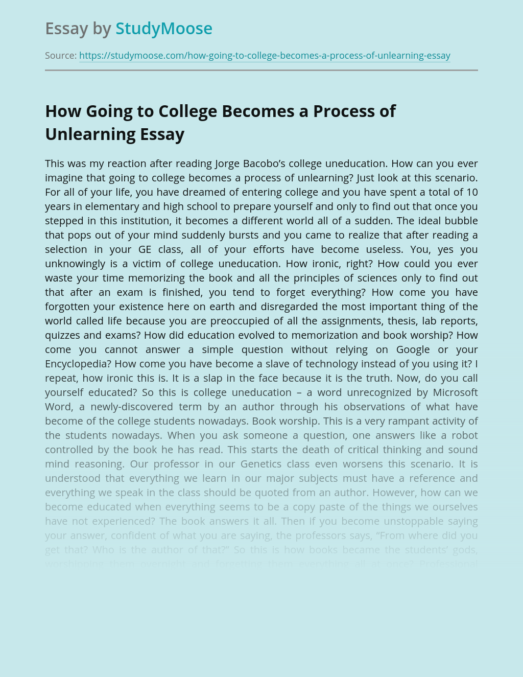 How Going to College Becomes a Process of Unlearning