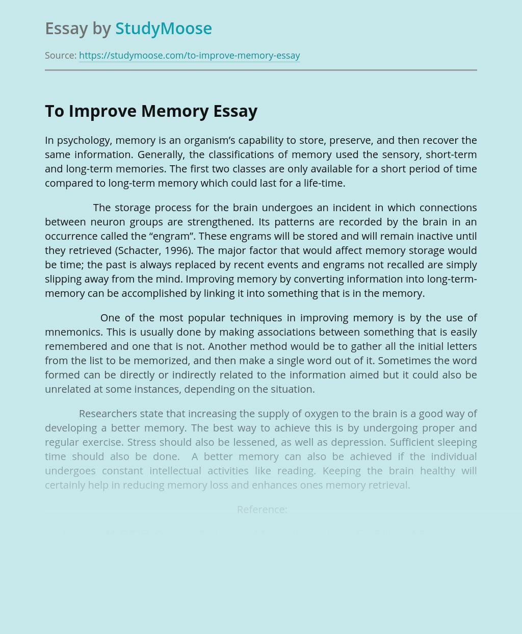 To Improve Memory