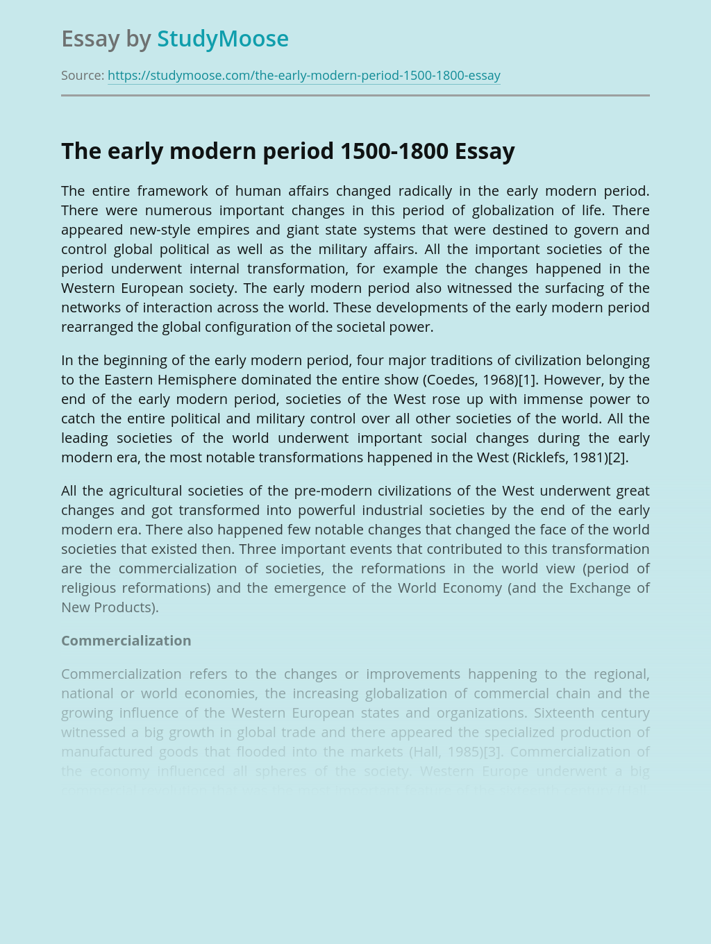 The early modern period 1500-1800