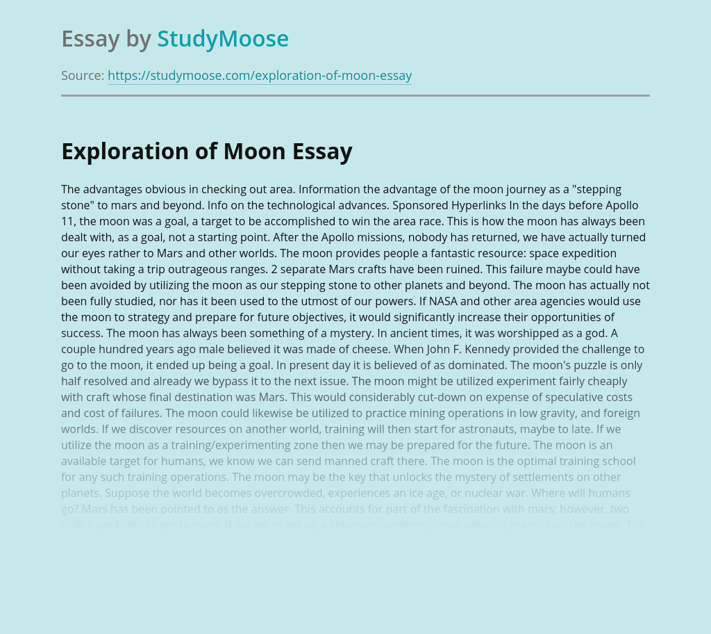 A Trip To Moon and Its Exploration