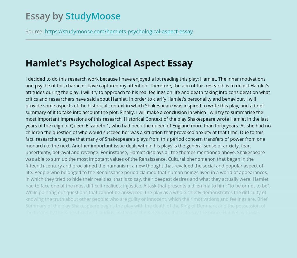 Hamlet's Psychological Aspect