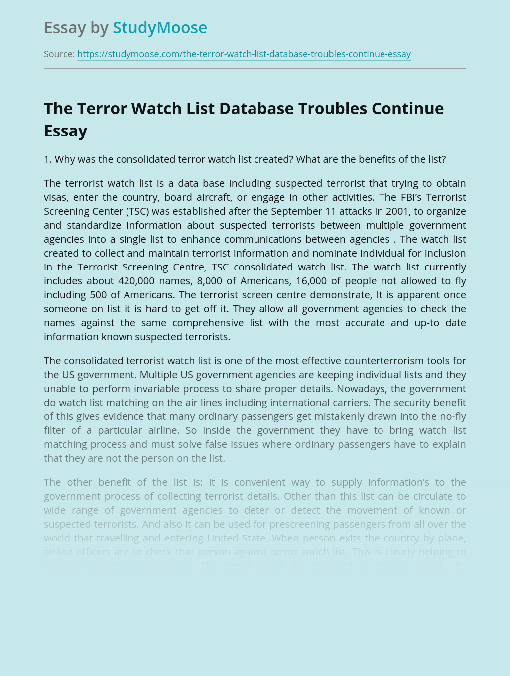 The Terror Watch List Database Troubles Continue
