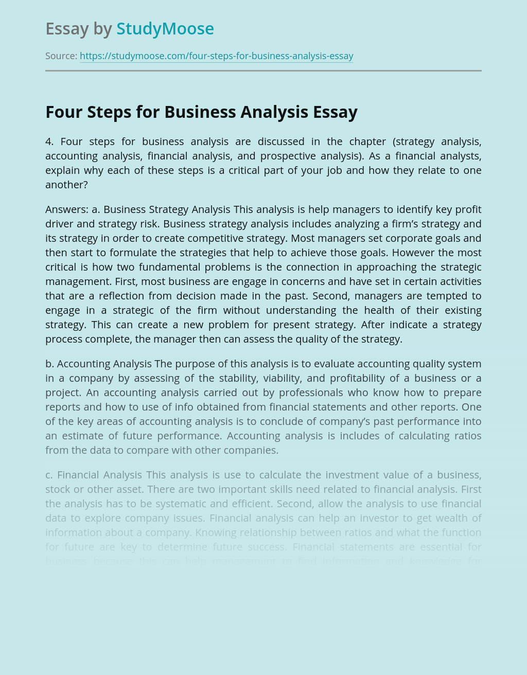 Four Steps for Business Analysis