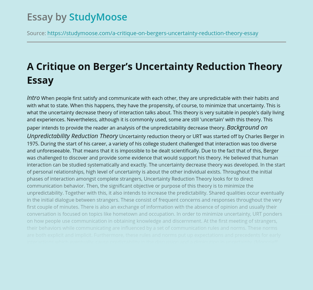 A Critique on Berger's Uncertainty Reduction Theory