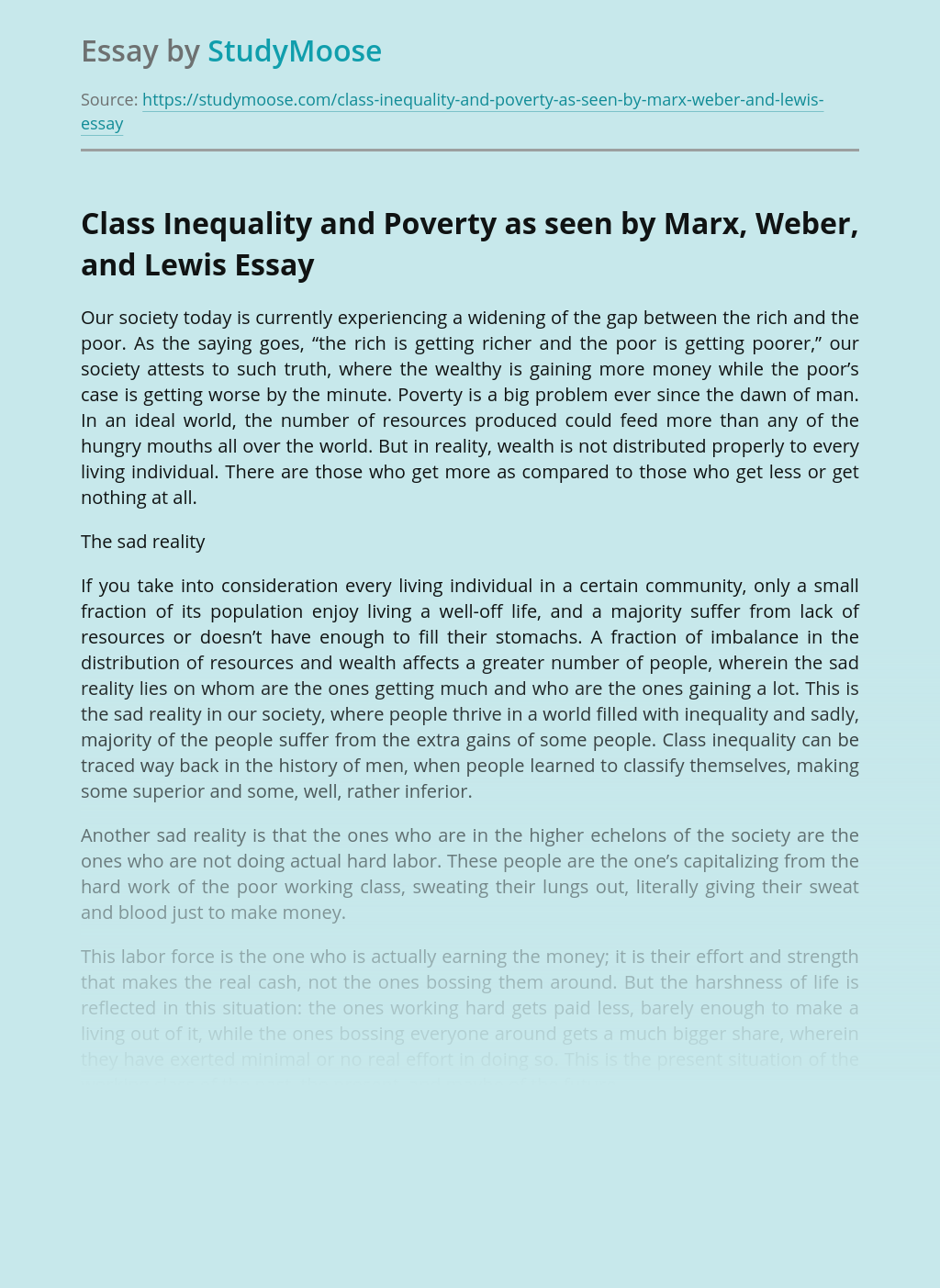 Class Inequality and Poverty as seen by Marx, Weber, and Lewis