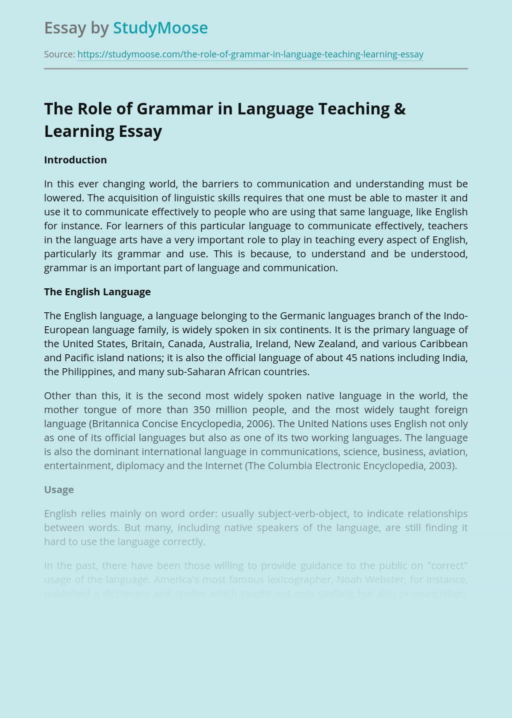 The Role of Grammar in Language Teaching & Learning