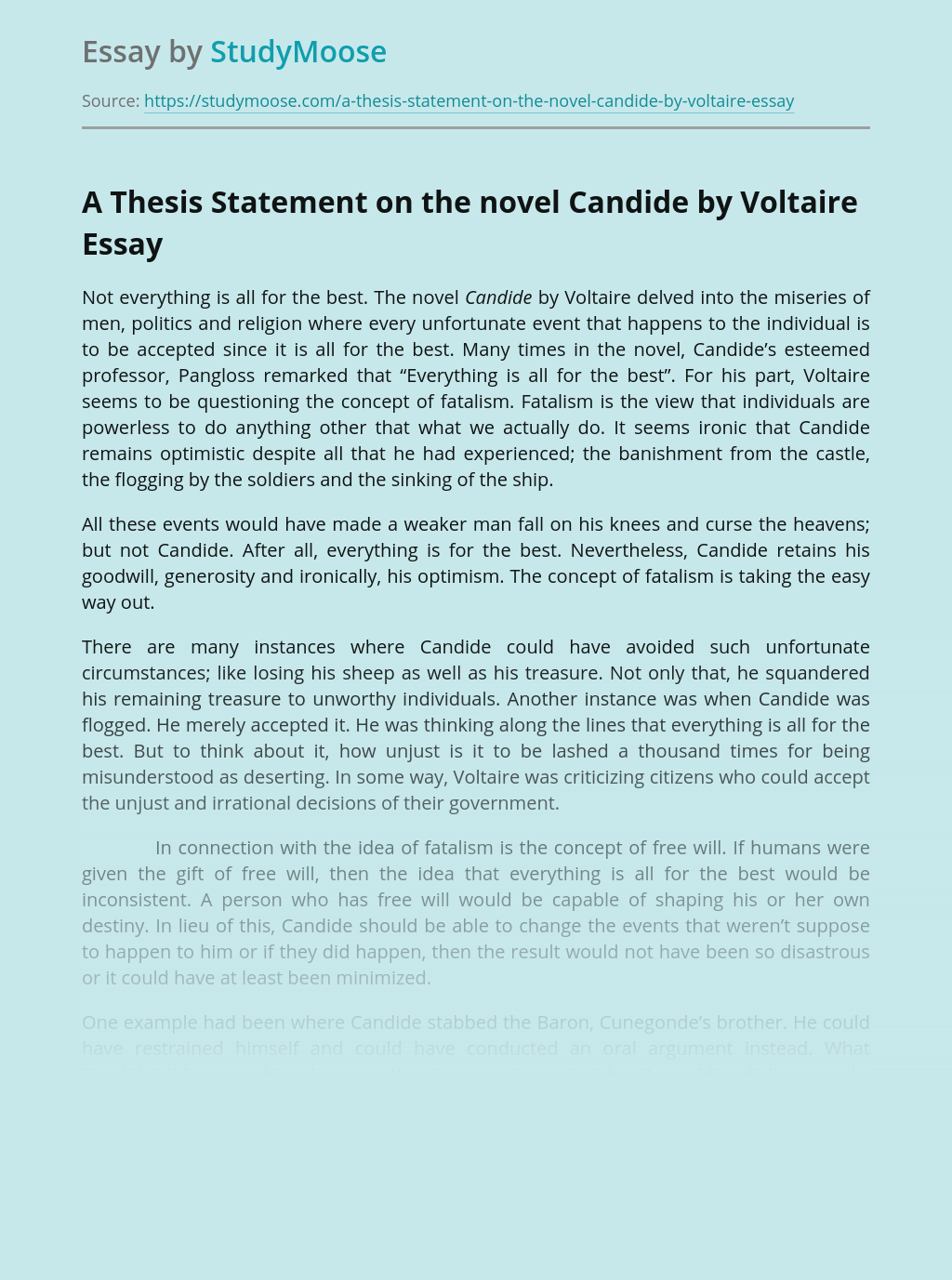 A Thesis Statement on the novel Candide by Voltaire