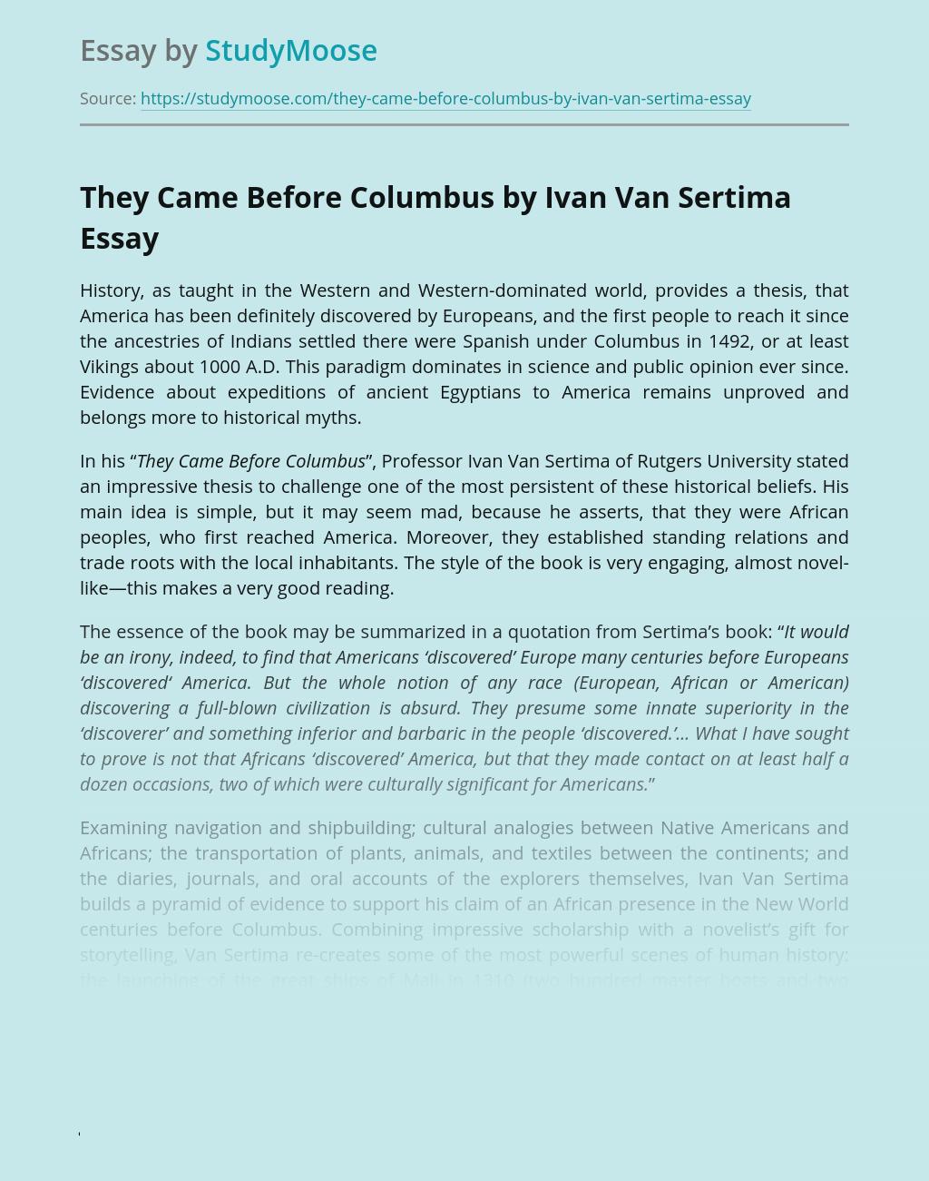 They Came Before Columbus by Ivan Van Sertima