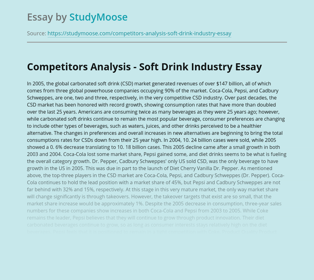 Competitors Analysis - Soft Drink Industry