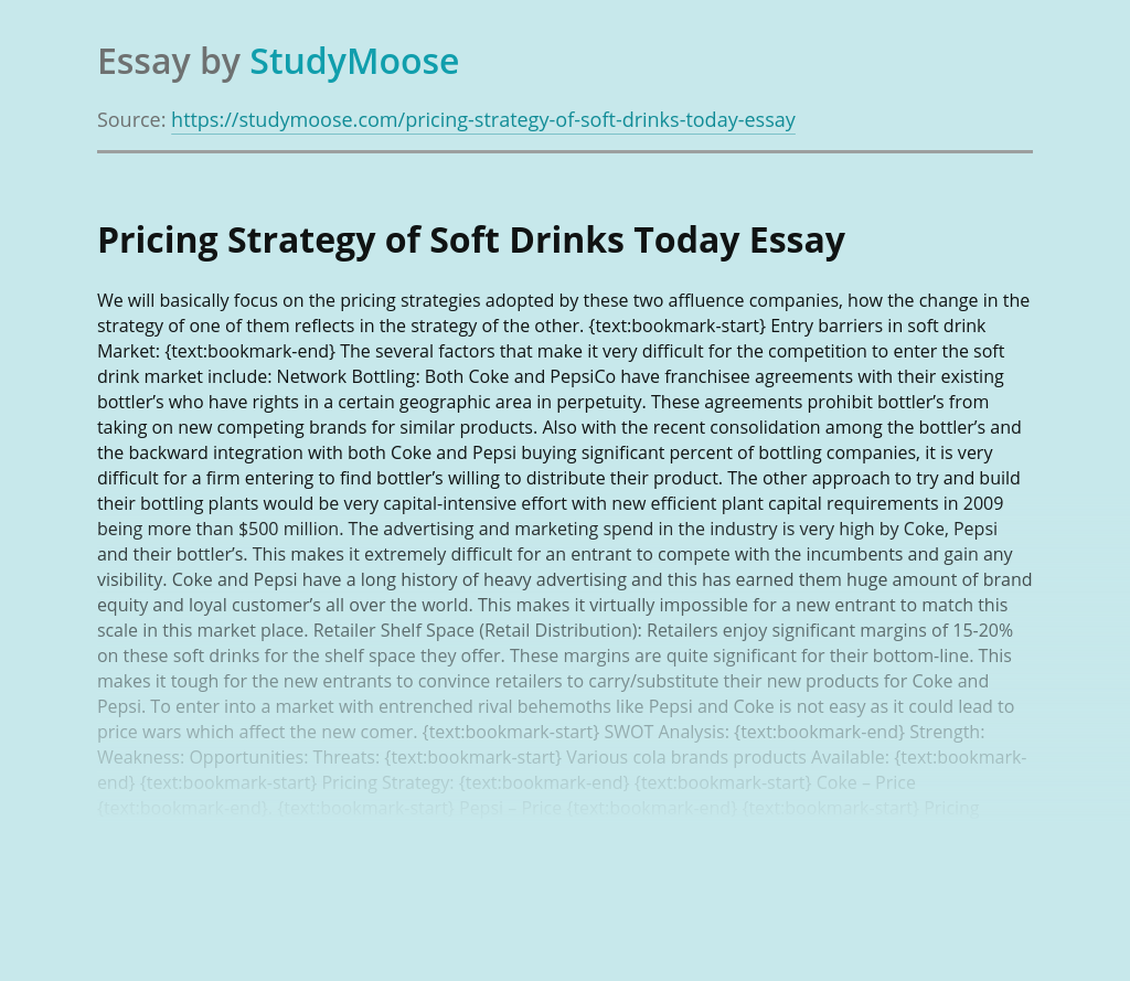 Pricing Strategy of Soft Drinks Today