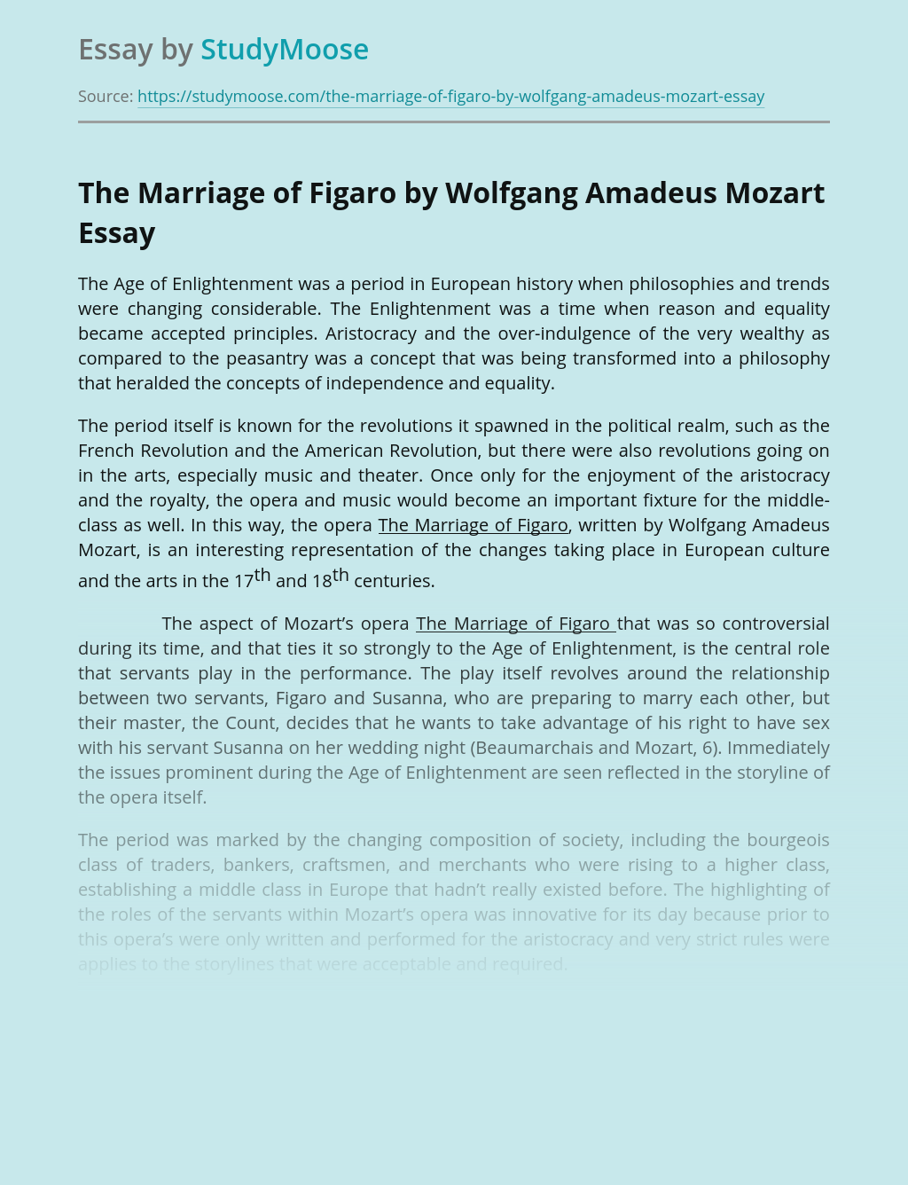 The Marriage of Figaro by Wolfgang Amadeus Mozart