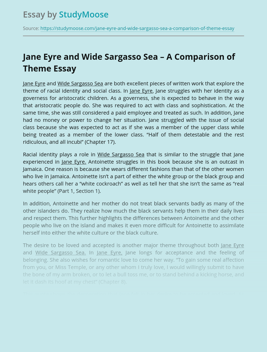 Jane Eyre and Wide Sargasso Sea – A Comparison of Theme