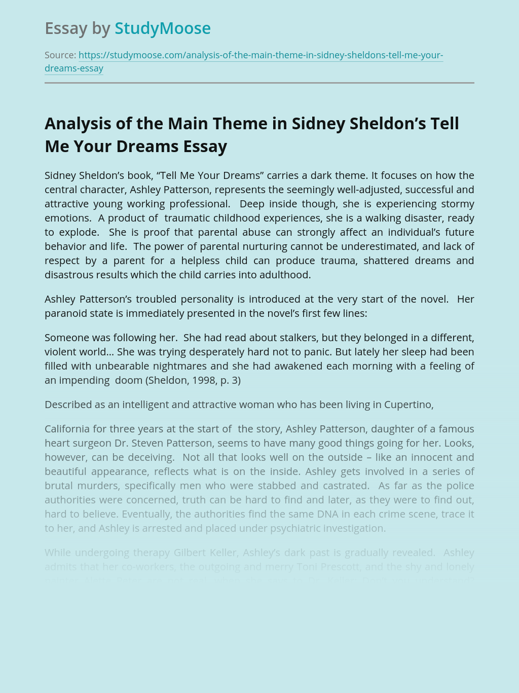 Analysis of the Main Theme in Sidney Sheldon's Tell Me Your Dreams