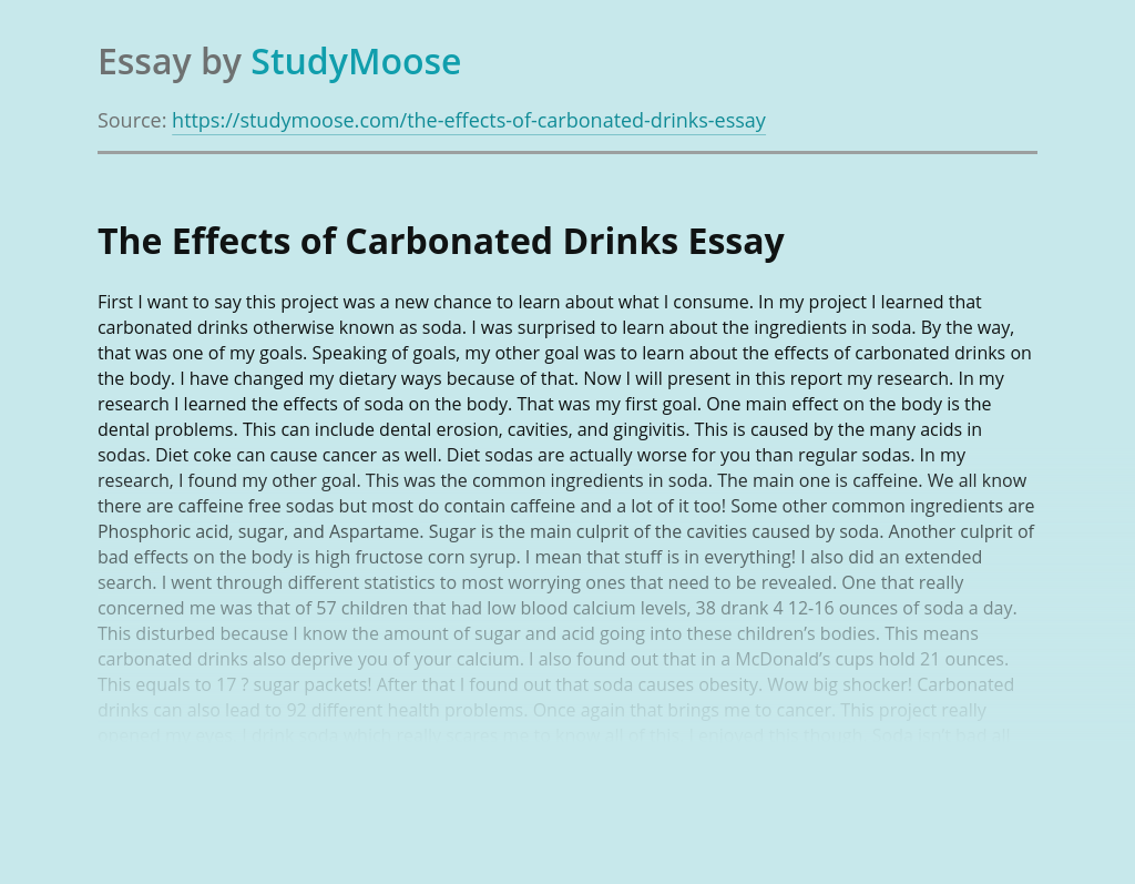 The Effects of Carbonated Drinks