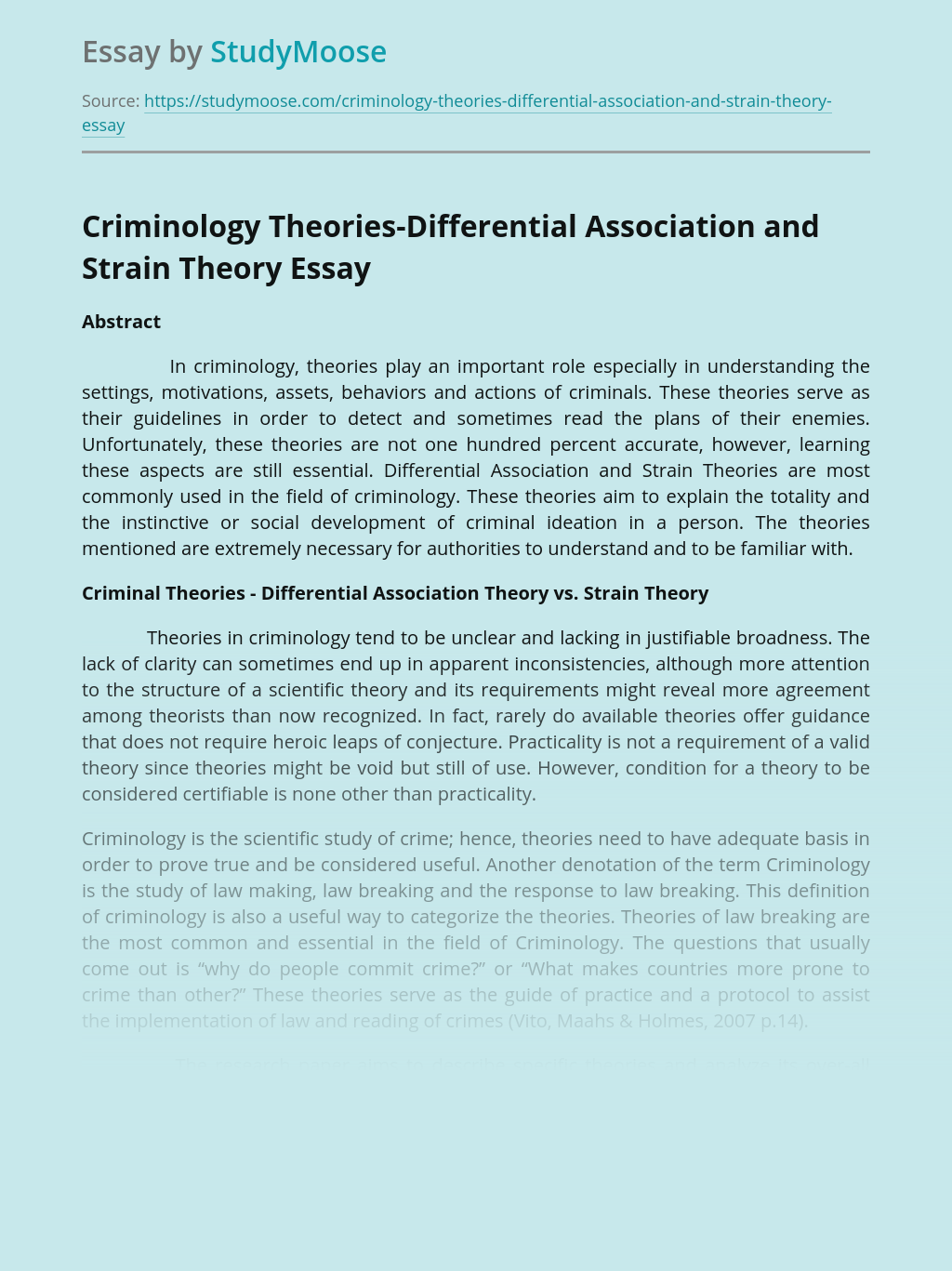 Criminology Theories-Differential Association and Strain Theory