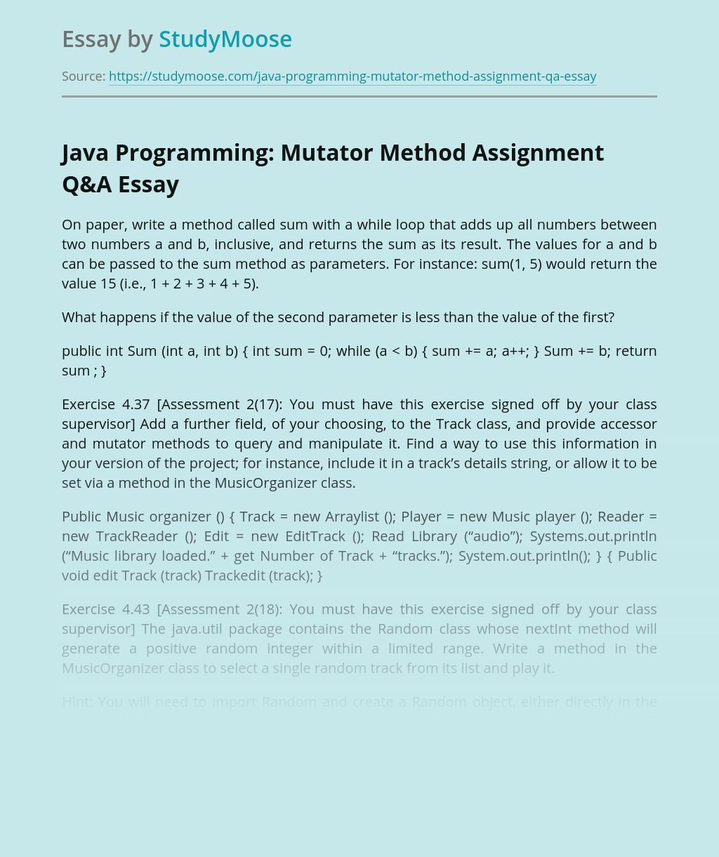 Java Programming: Mutator Method Assignment Q&A