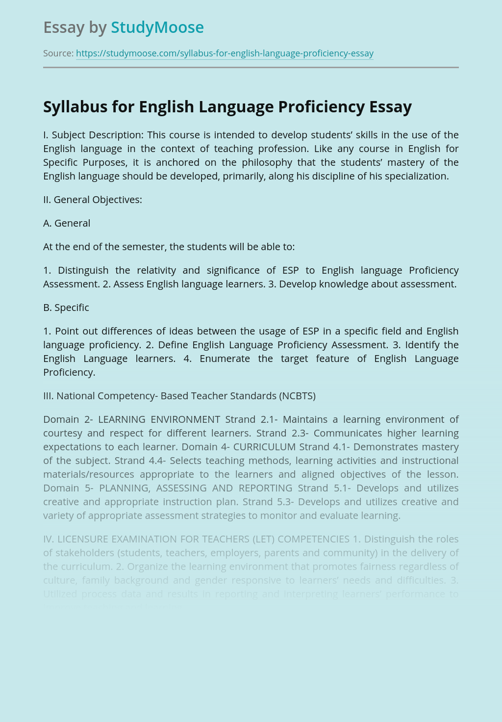 Syllabus for English Language Proficiency