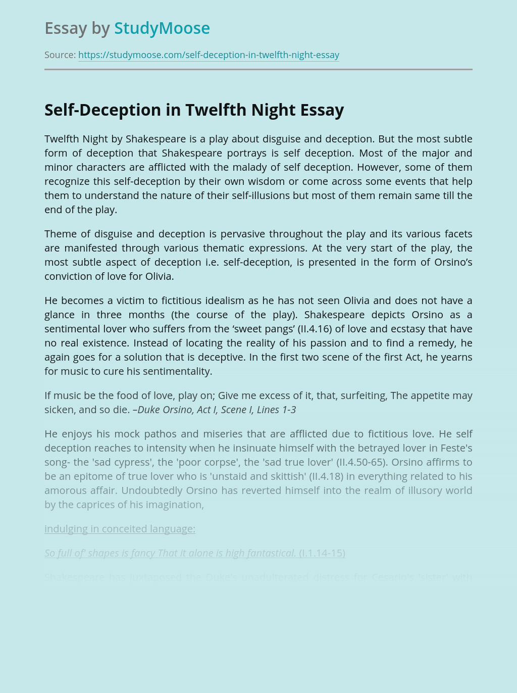 Self-Deception in Twelfth Night