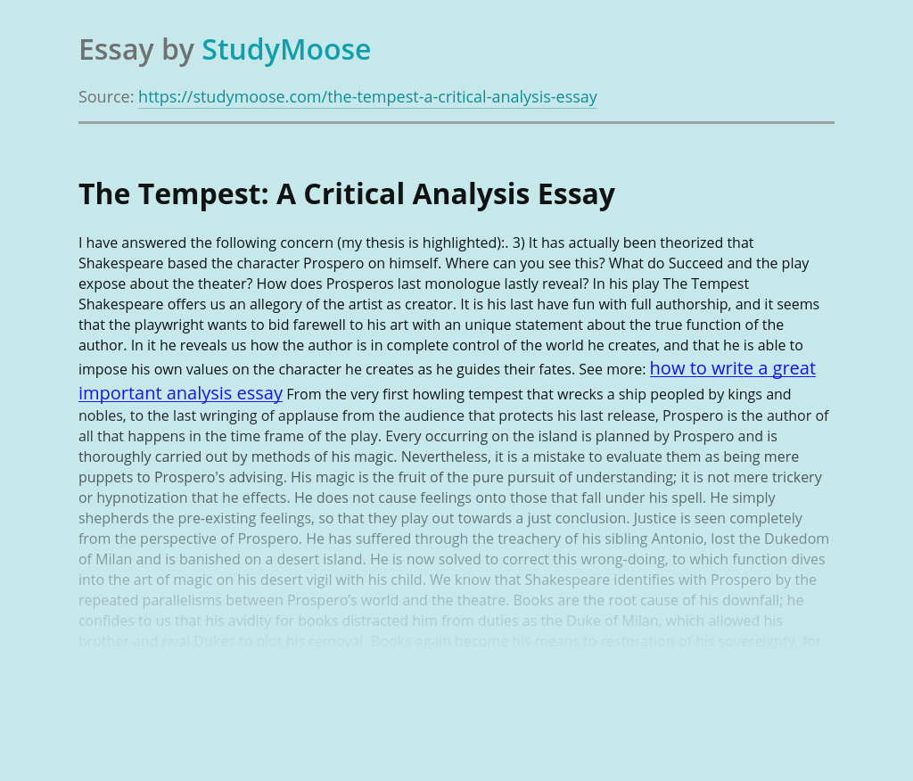 The Tempest: A Critical Analysis