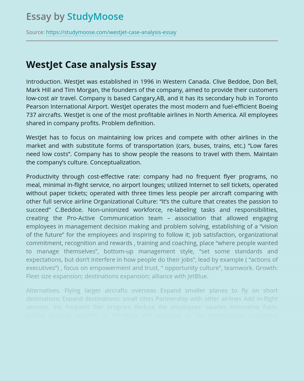 WestJet Case analysis