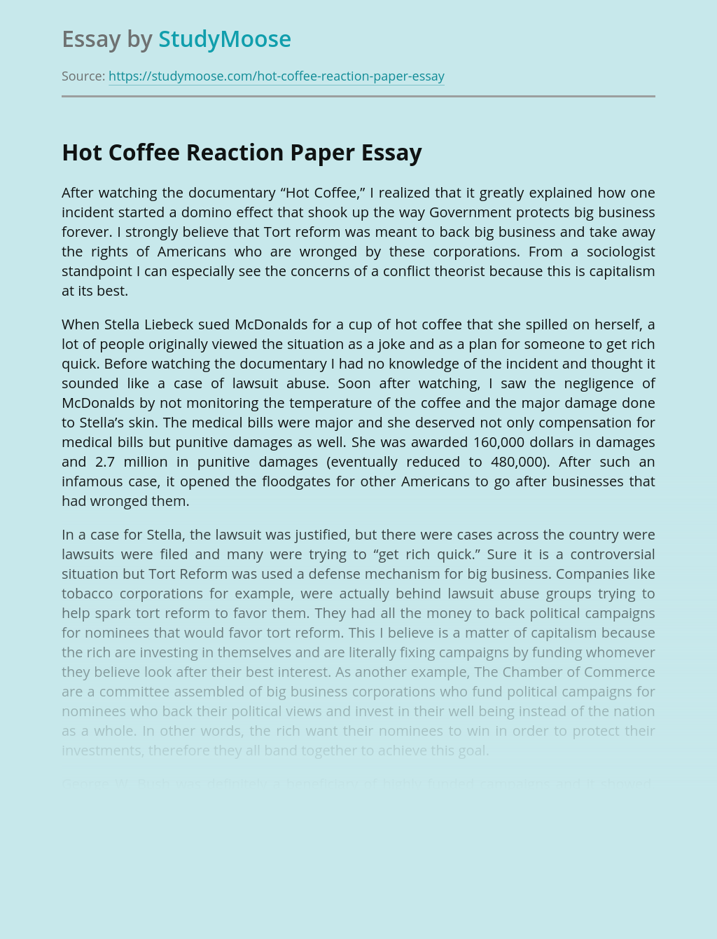 Hot Coffee Reaction Paper