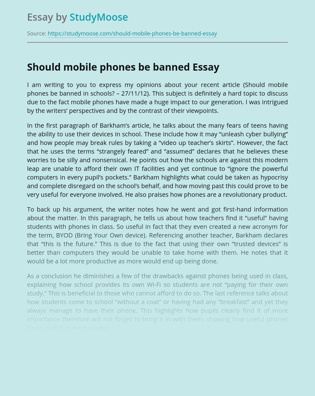 Should mobile phones be banned