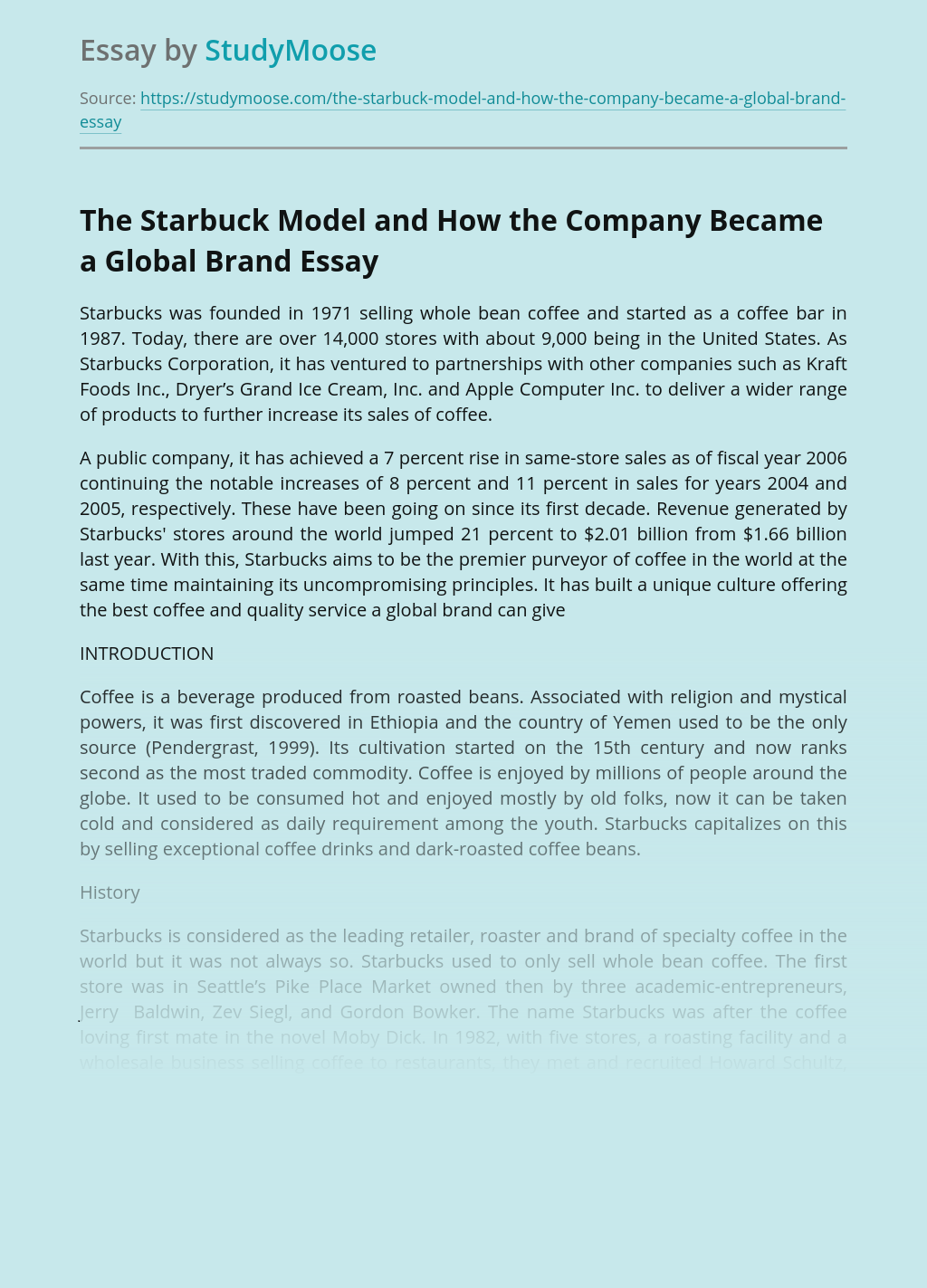 The Starbuck Model and How  the Company Became a Global Brand