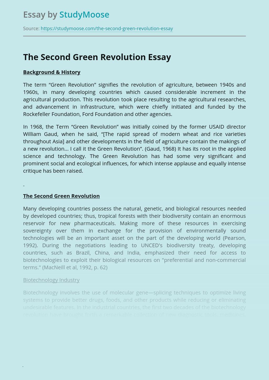 The Second Green Revolution