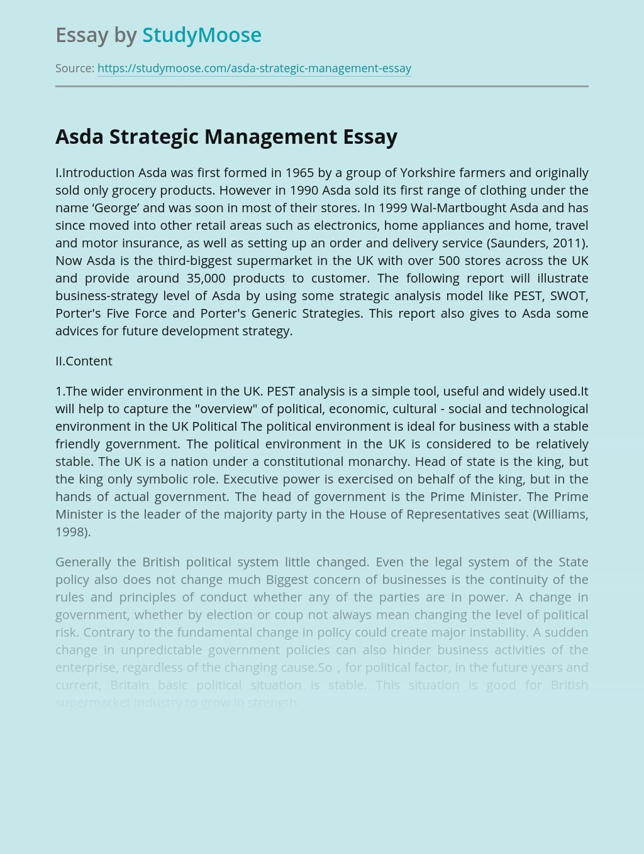 Asda Strategic Management