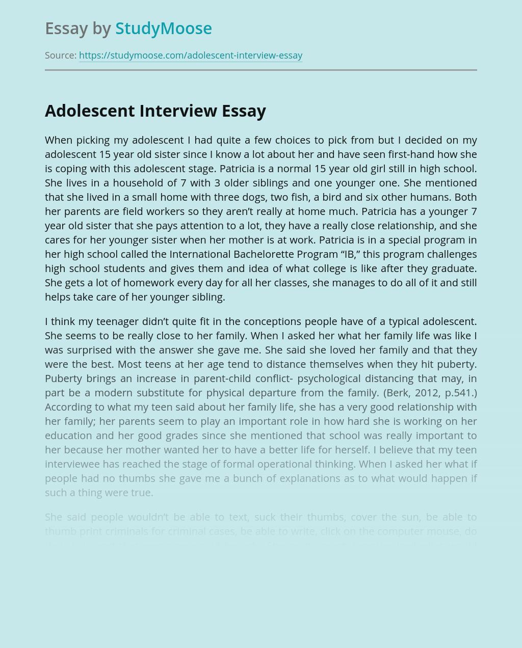 Adolescent Interview
