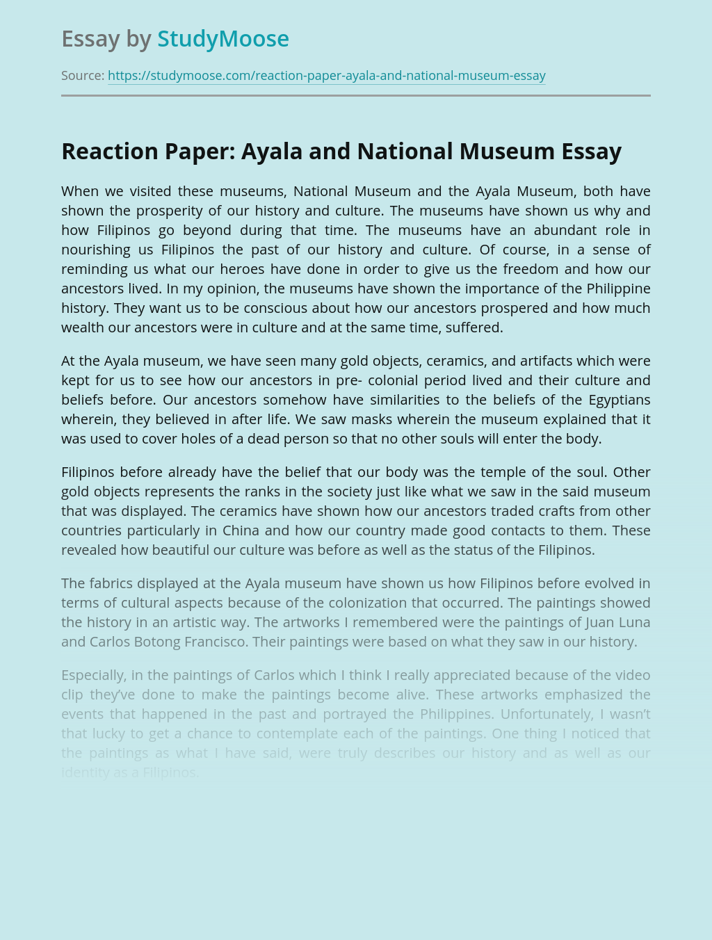 Reaction Paper: Ayala and National Museum