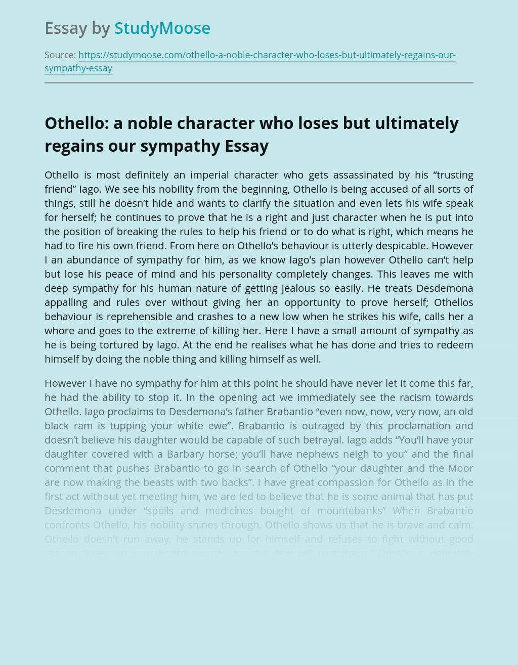 Othello: a noble character who loses but ultimately regains our sympathy