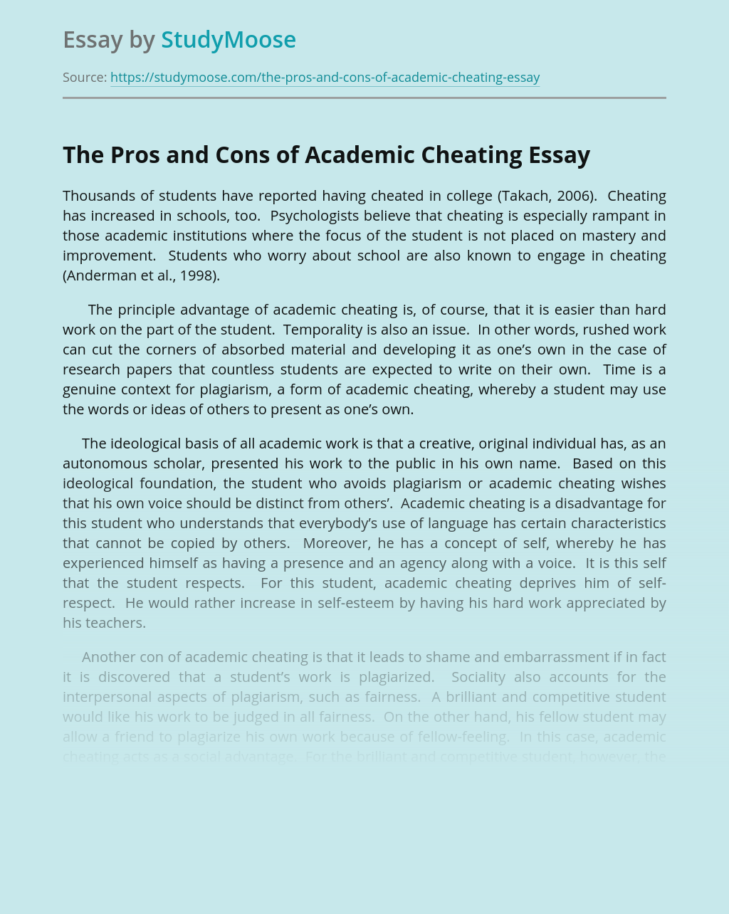 The Pros and Cons of Academic Cheating