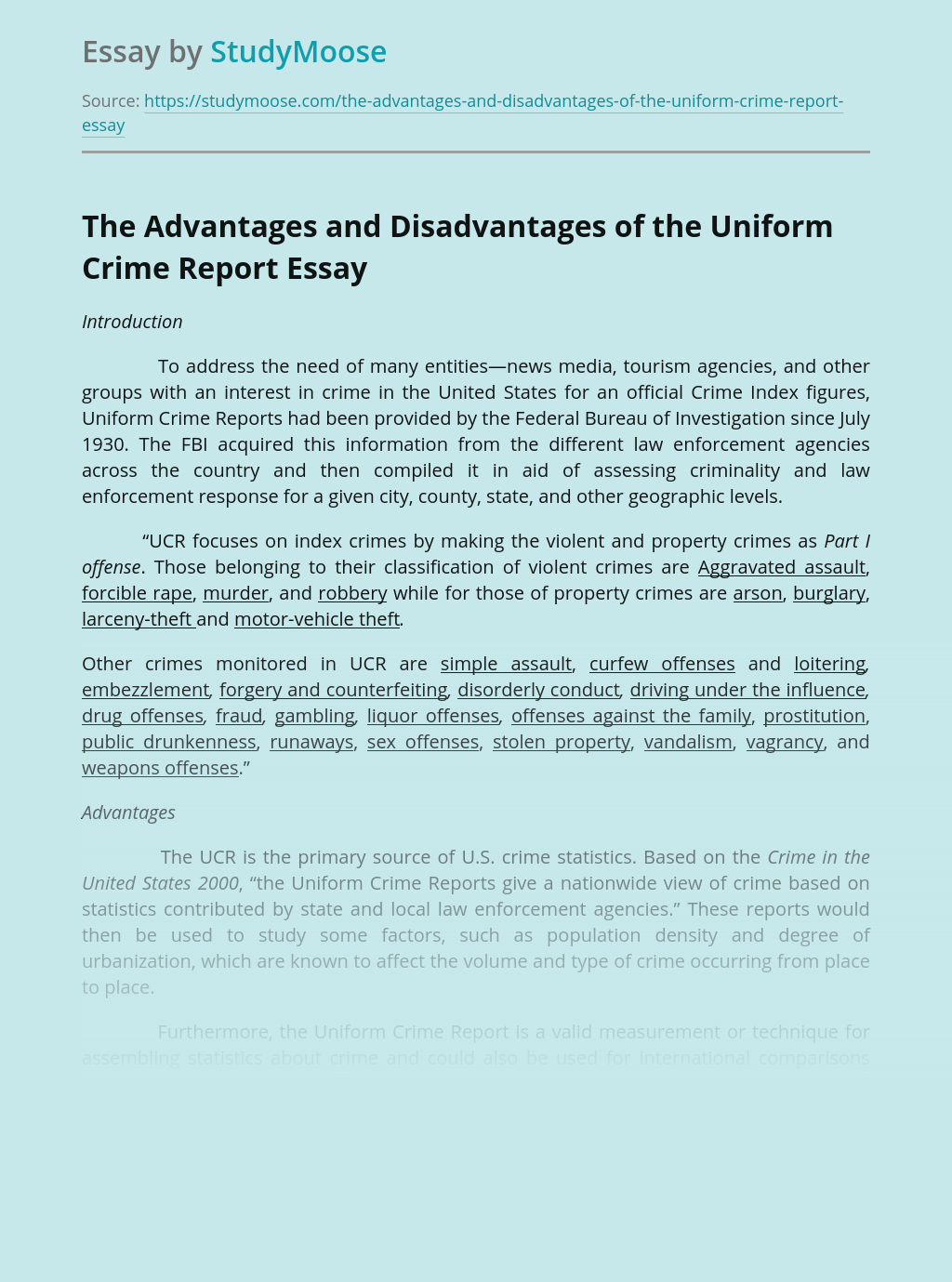 The Advantages and Disadvantages of the Uniform Crime Report
