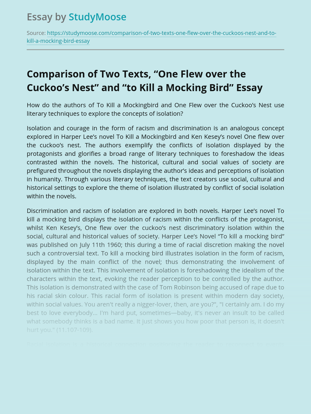 """Comparison of Two Texts, """"One Flew over the Cuckoo's Nest"""" and """"to Kill a Mocking Bird"""""""