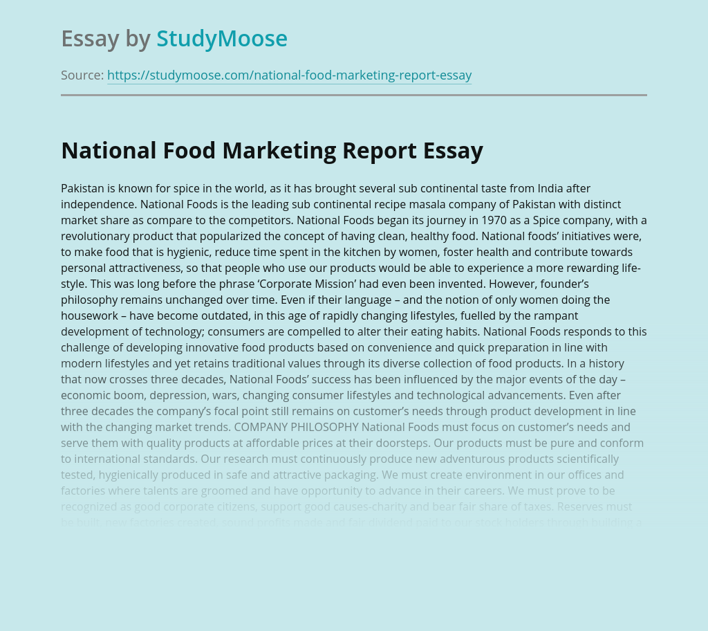 National Food Marketing Report