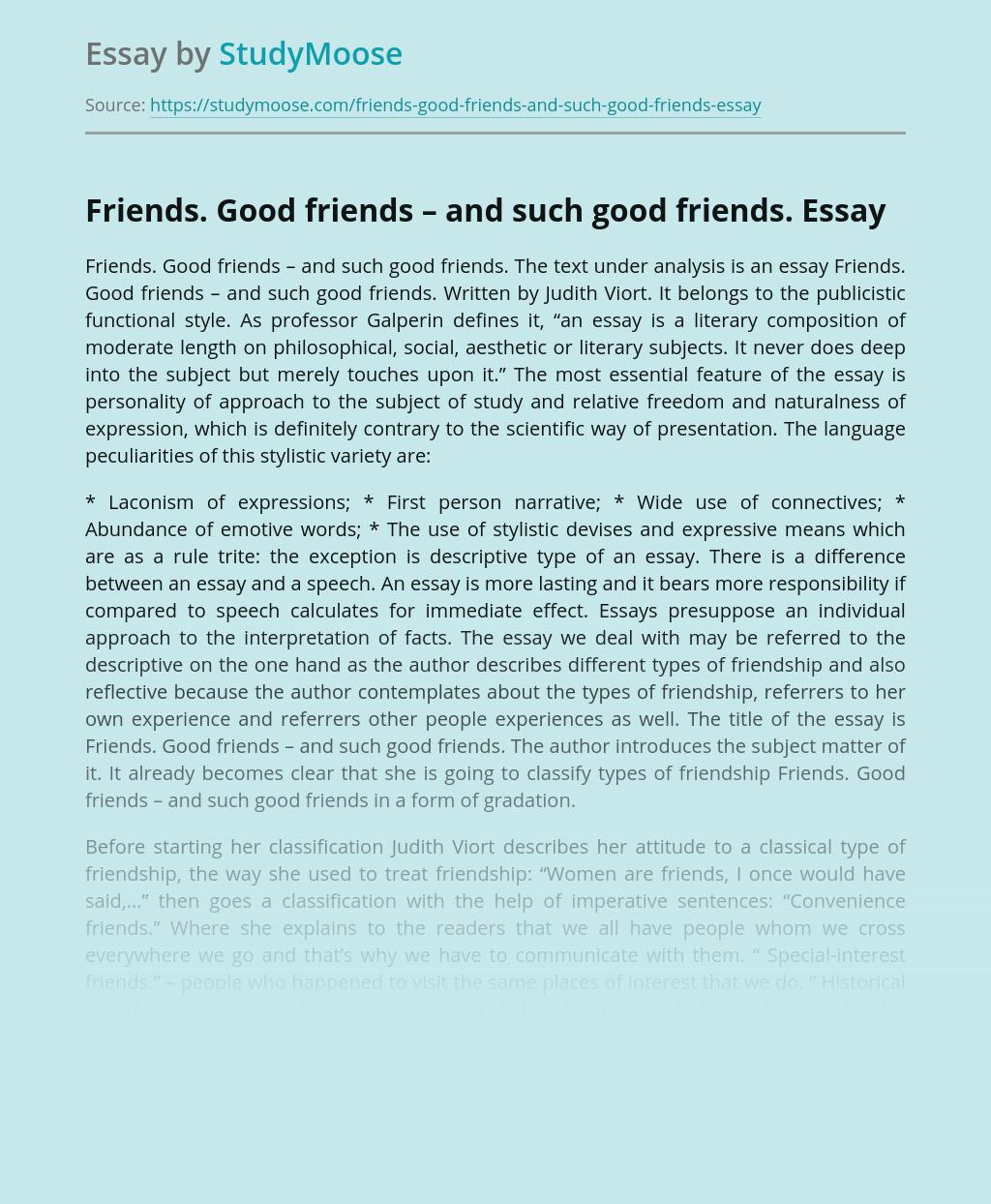 Friends. Good friends – and such good friends.