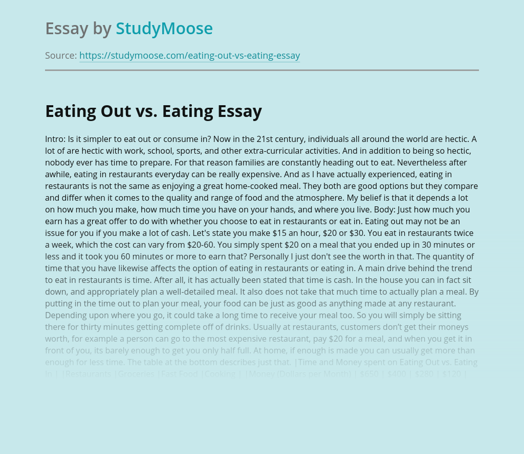 Eating Out vs. Eating