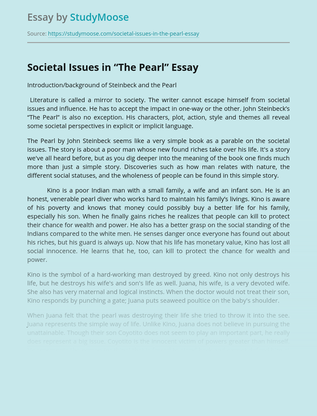 "Societal Issues in ""The Pearl"""