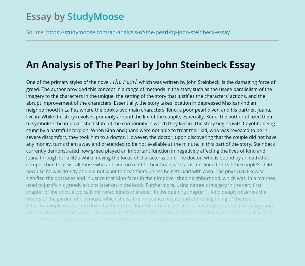 An Analysis of The Pearl by John Steinbeck