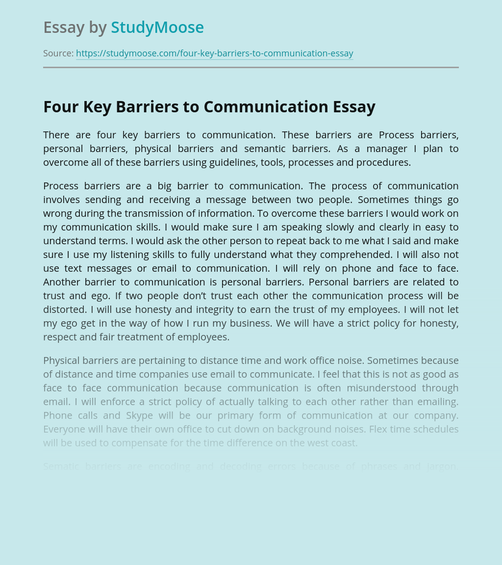 Four Key Barriers to Communication
