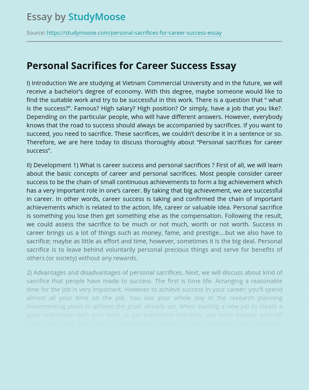 Personal Sacrifices for Career Success