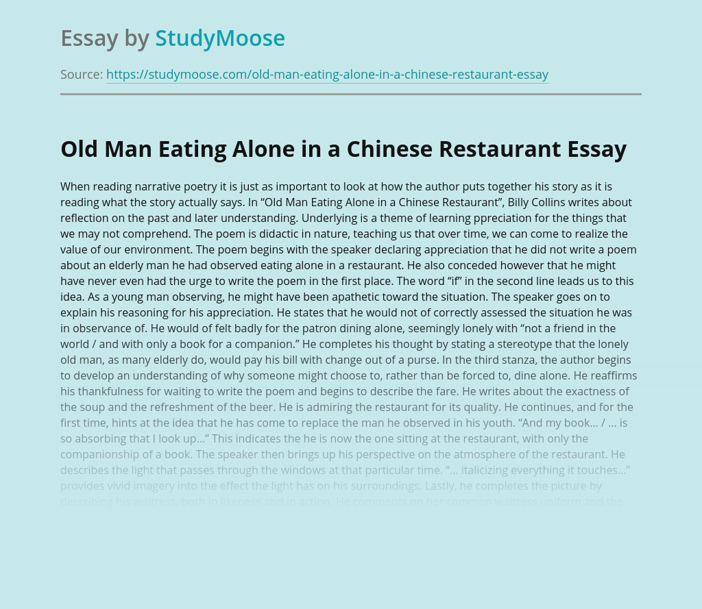 Old Man Eating Alone in a Chinese Restaurant