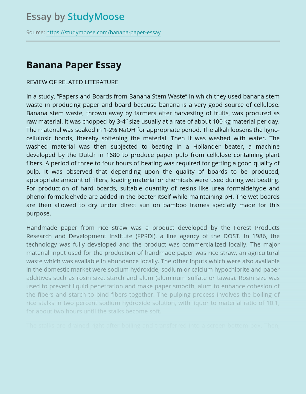 Papers and Boards from Banana Stem Waste