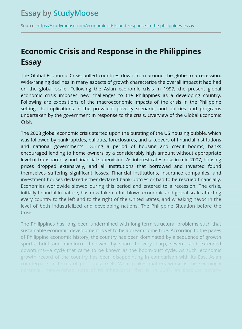 Economic Crisis and Response in the Philippines