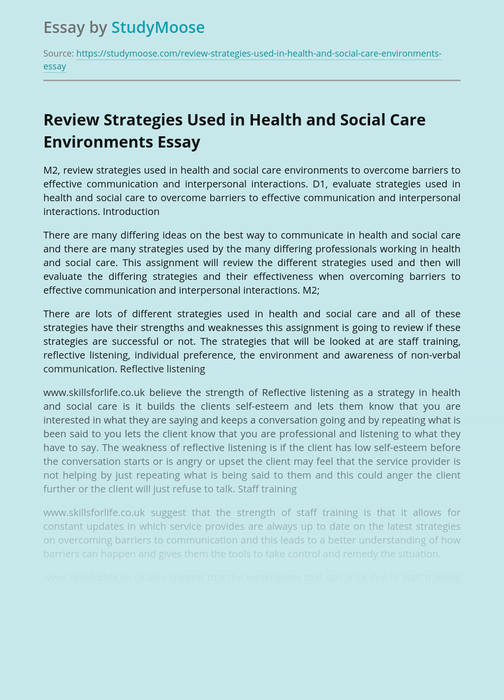 Review Strategies Used in Health and Social Care Environments