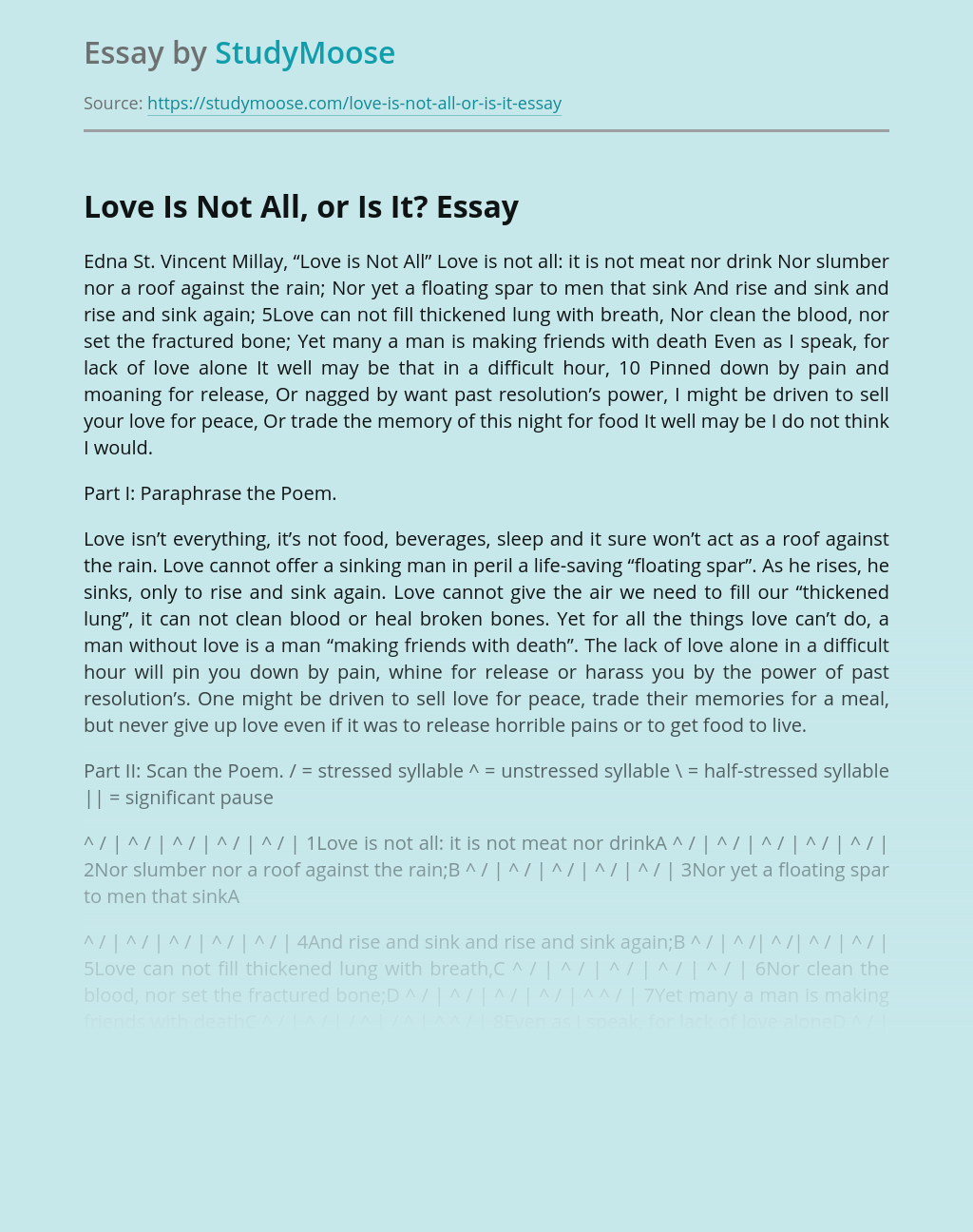 A Poem Love Is Not All, or Is It